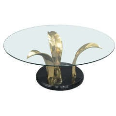 Circular Glass-Top Coffee Table on Brass Base