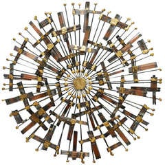 Jere-style Metal Sunburst Wall Sculpture