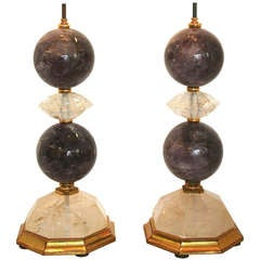 Pair of Amethyst Rock Crystal Lamps