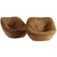 Pair of 1960s Suede Lounge Chairs by Pierre Paulin