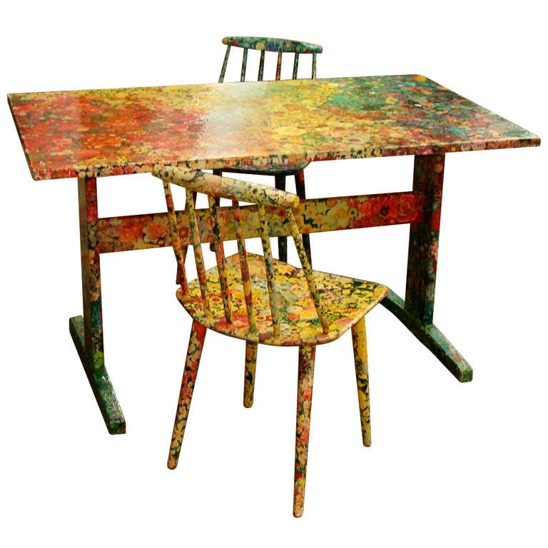 Small dining table decoupage decoration at 1stdibs for Dining room side table decor