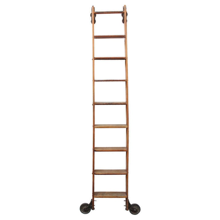 Further antique rolling library ladder on early american home decor