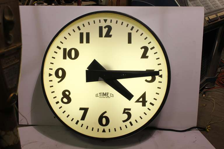 Giant midcentury school wall light up clock by el time co at 1stdibs giant midcentury school wall light up clock by el time company with milk glass back aloadofball Image collections