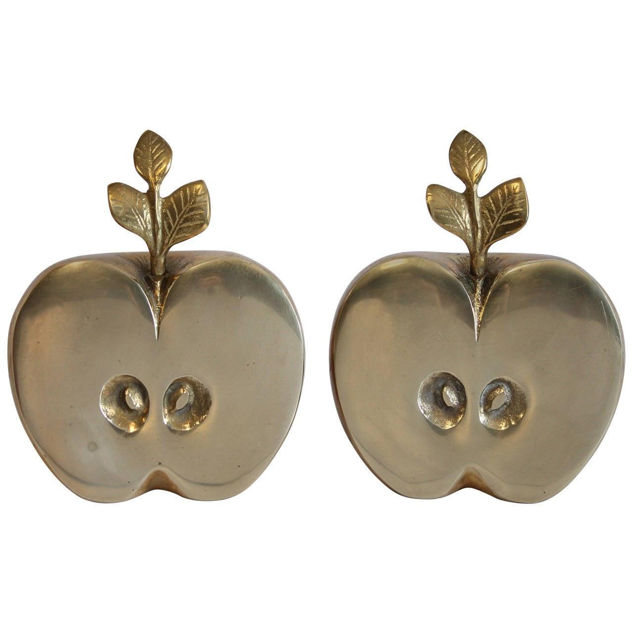 Mid Century Brass Apple Bookends