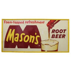 "Large Vintage Advertising Sign ""Mason's Root Beer"""