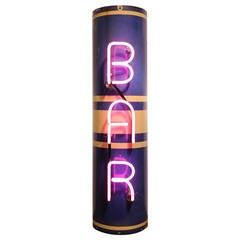 Art Deco Pink Neon BAR Sign
