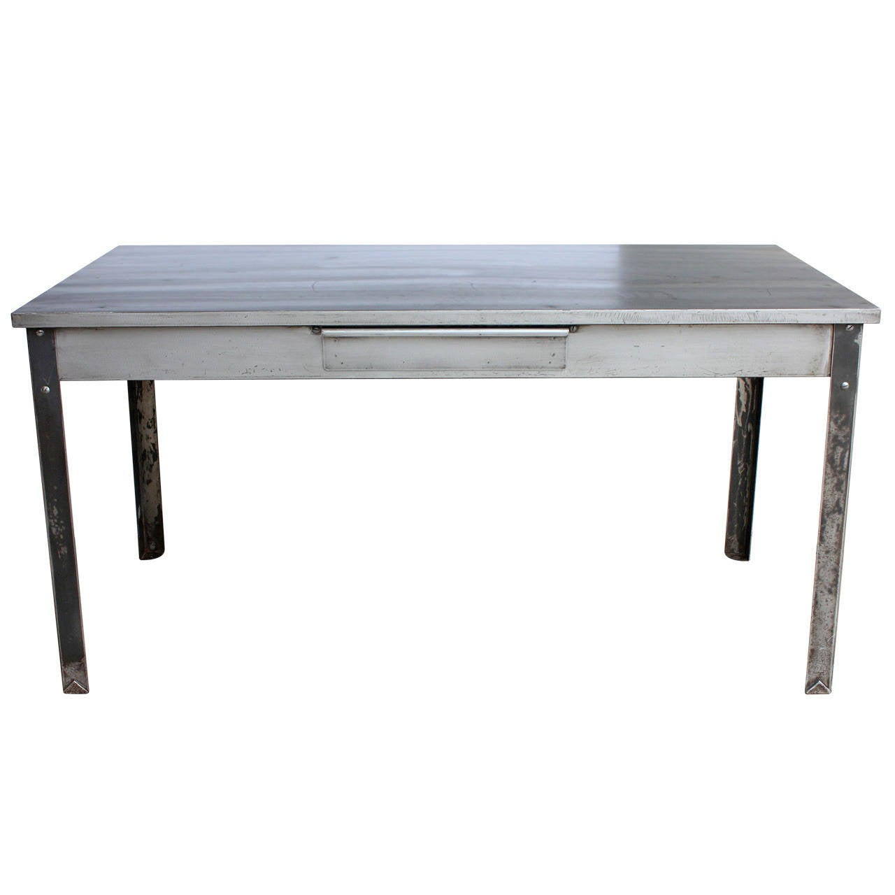 Stylish Antique Industrial Metal Desk At 1stdibs