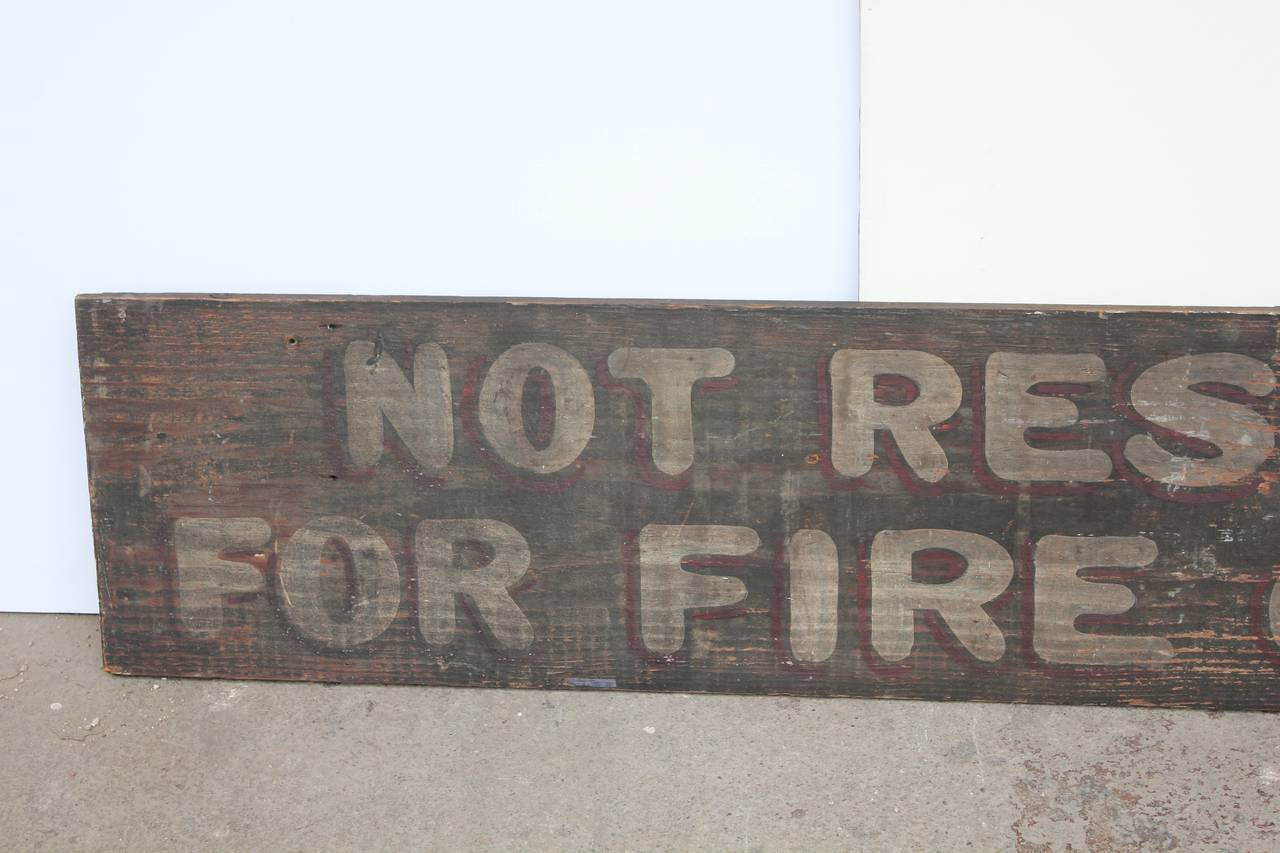 "Vintage Hand-Painted Wood Sign ""Not Responsible For Fire ...