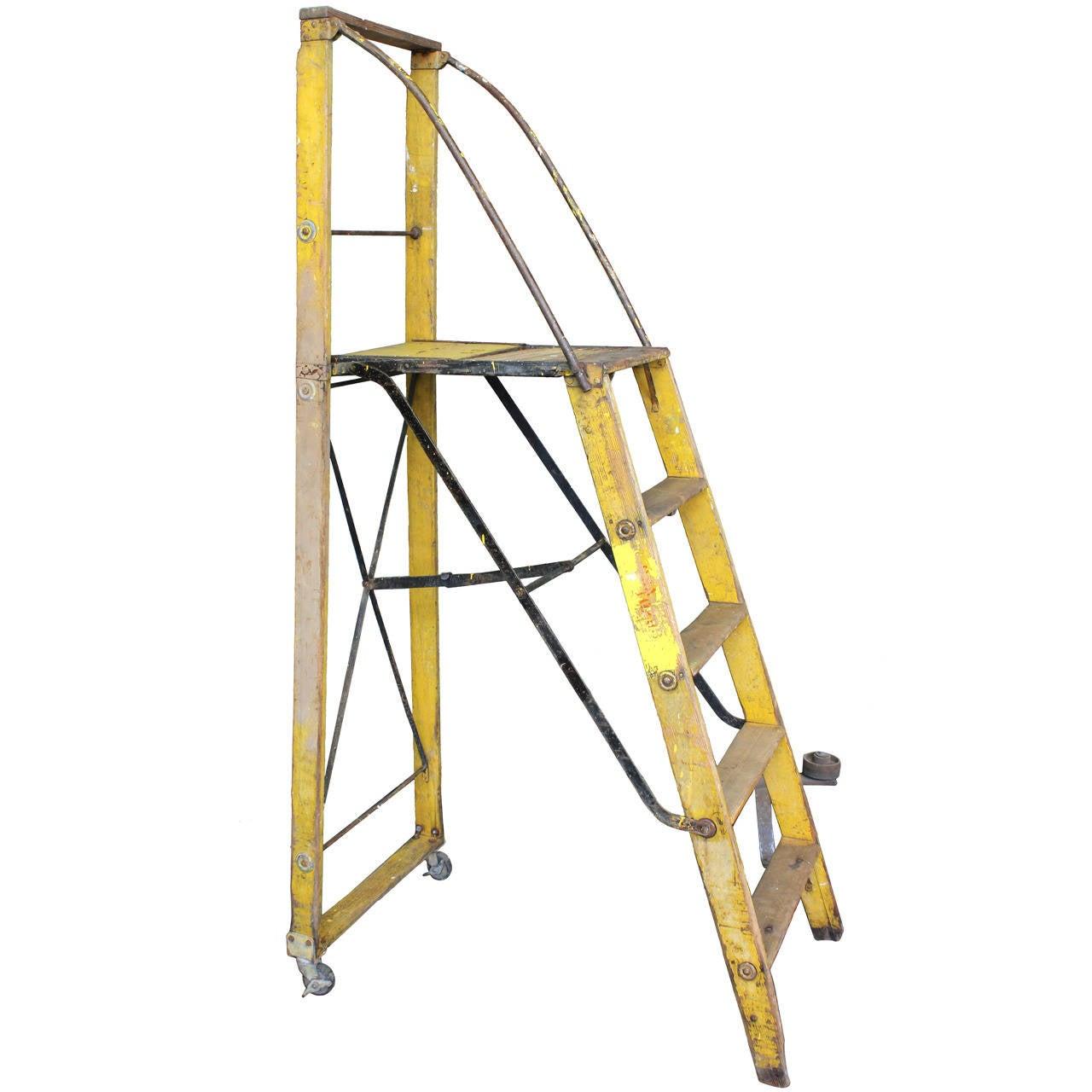1900s Dry Goods Store Folding Ladder At 1stdibs