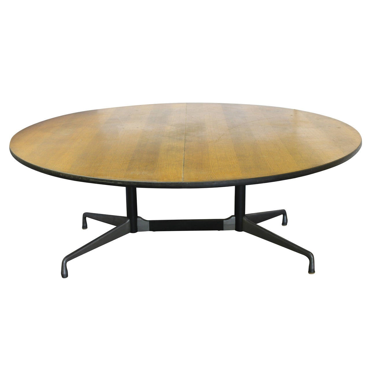 Six foot dining round table by charles and ray eames for for Dining room table for 6