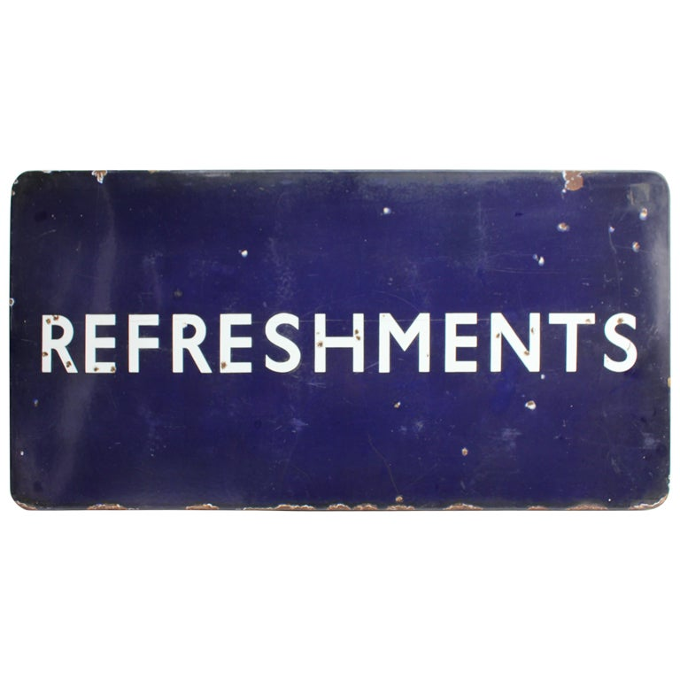 1930 S Porcelain Sign Quot Refreshments Quot At 1stdibs