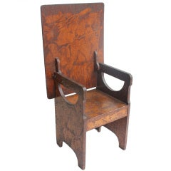 Folk Art Hand Made Wooden Chair/Table