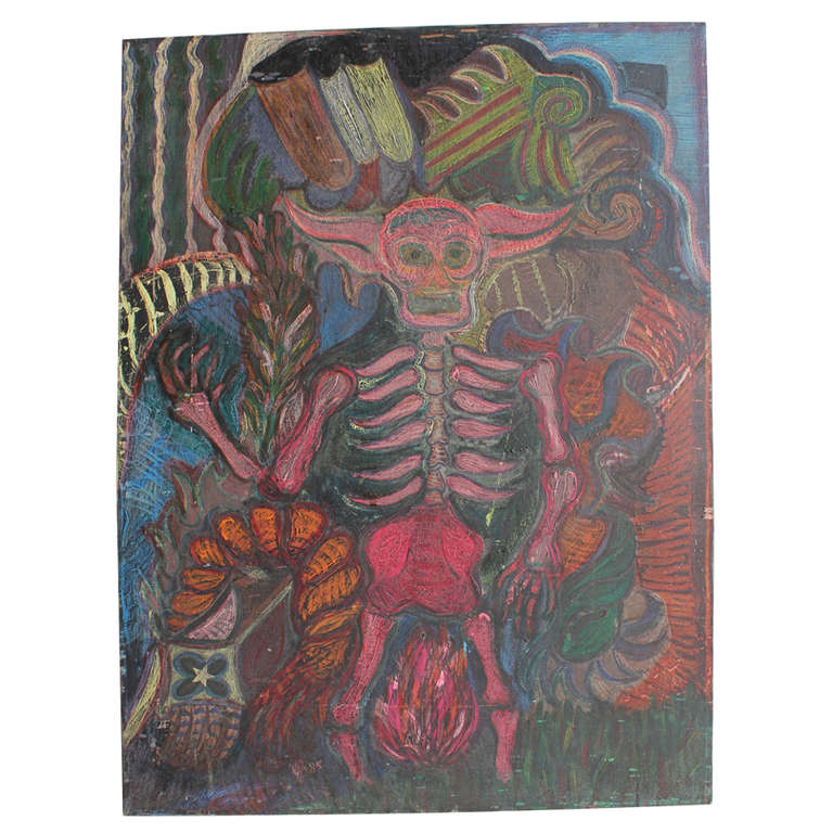 """1980's Mexican Oil Painting """"Diablo"""""""