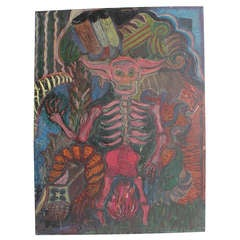 "1980's Mexican Oil Painting ""Diablo"""