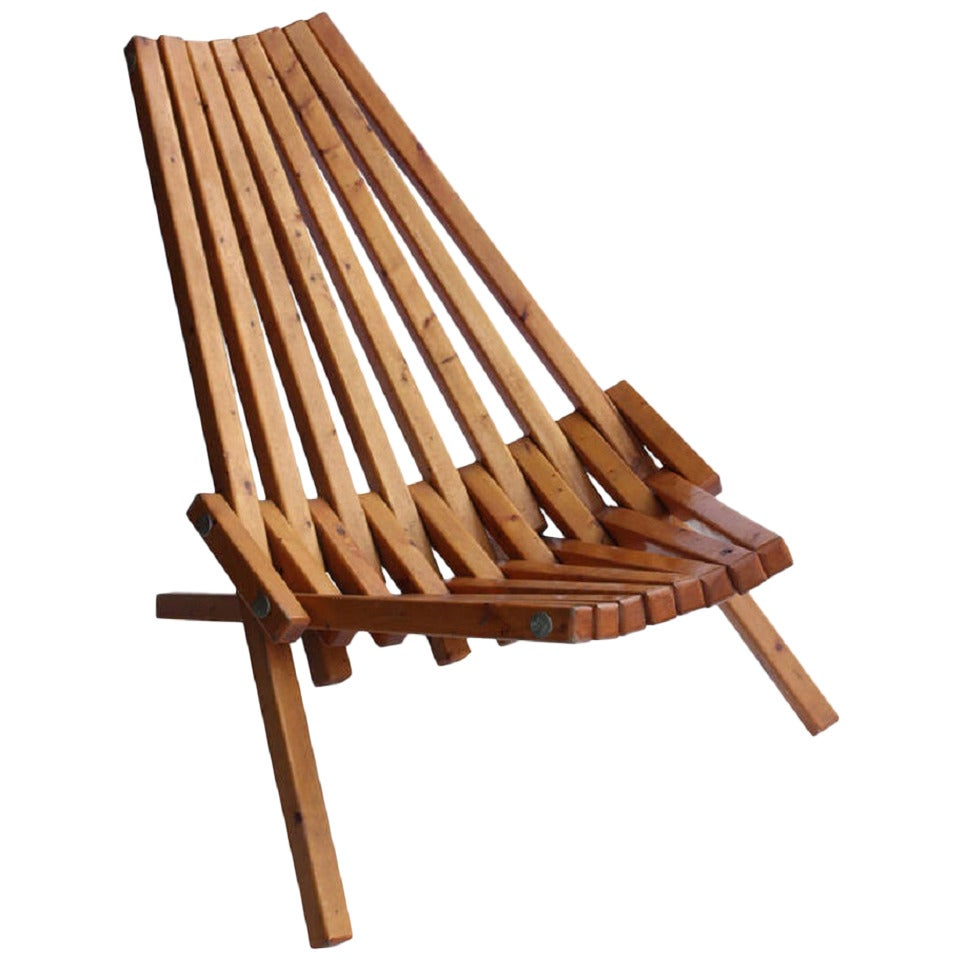 Gentil Mid Century Wood Folding Lounge Chair For Sale