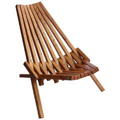 Mid-Century Wood Folding Lounge Chair