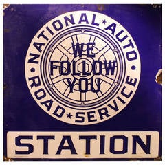 """Rare 1920s Enamel Sign """"National Auto Road Service Station"""""""