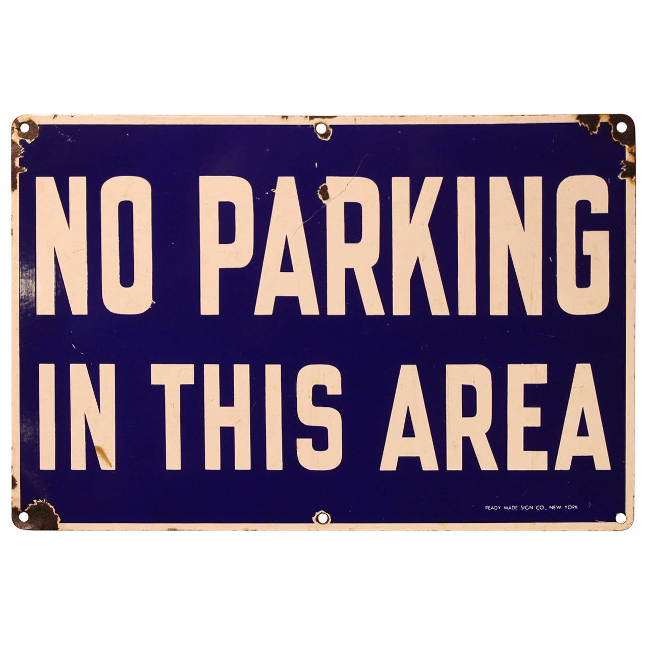 1930s Enamel Street Sign No Parking In This Area At 1stdibs