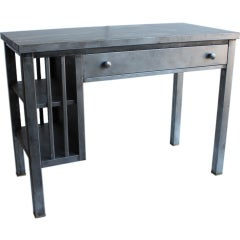 Mission style metal desk