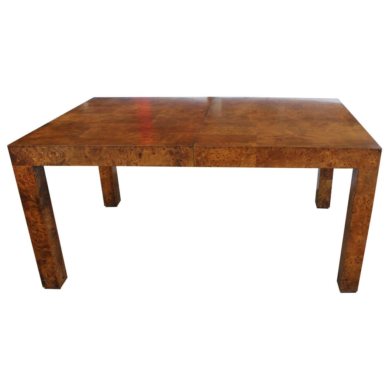 Parsons style burl wood dining table by milo baughman for for Dining room table styles