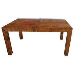 Parsons Style Burl Wood Dining Table by Milo Baughman