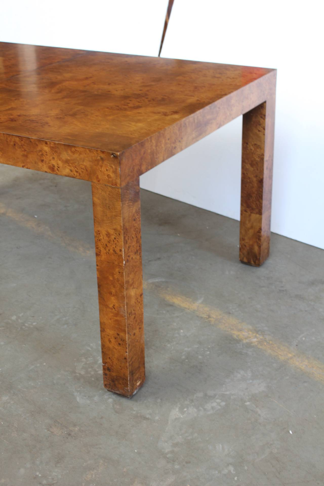 Parsons Style Burl Wood Dining Table by Milo Baughman For Sale at