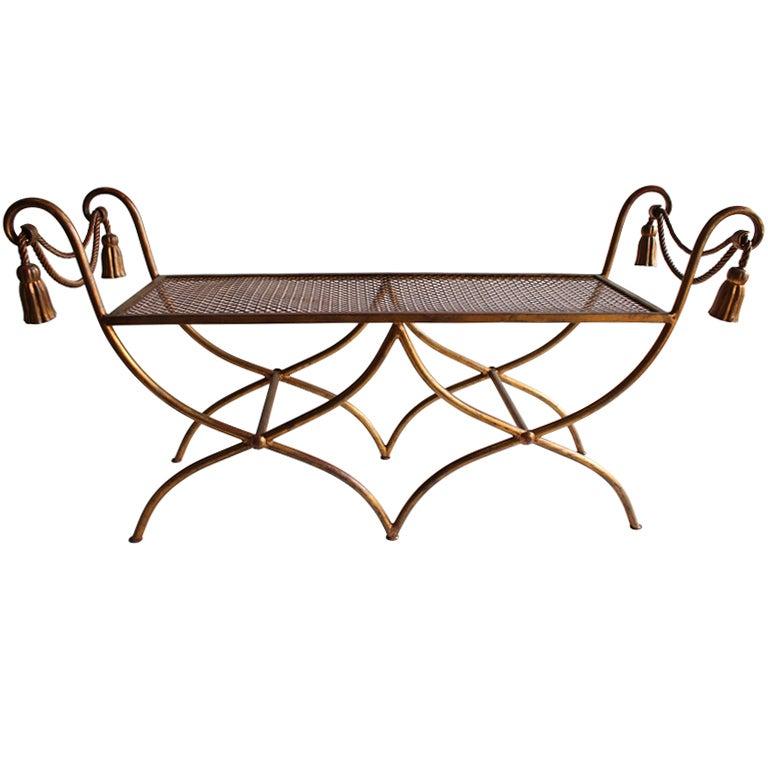 Midcentury Italian Gold Leaf Wrought Iron Bench