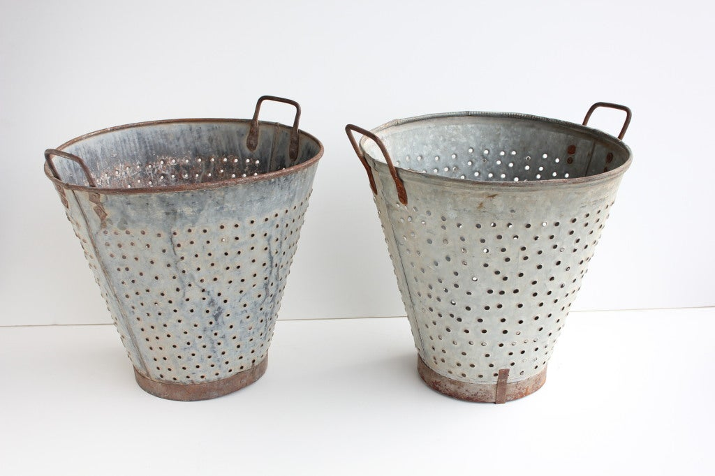1950's Turkish galvanized steel olive baskets with handles.Price for each basket. More available.