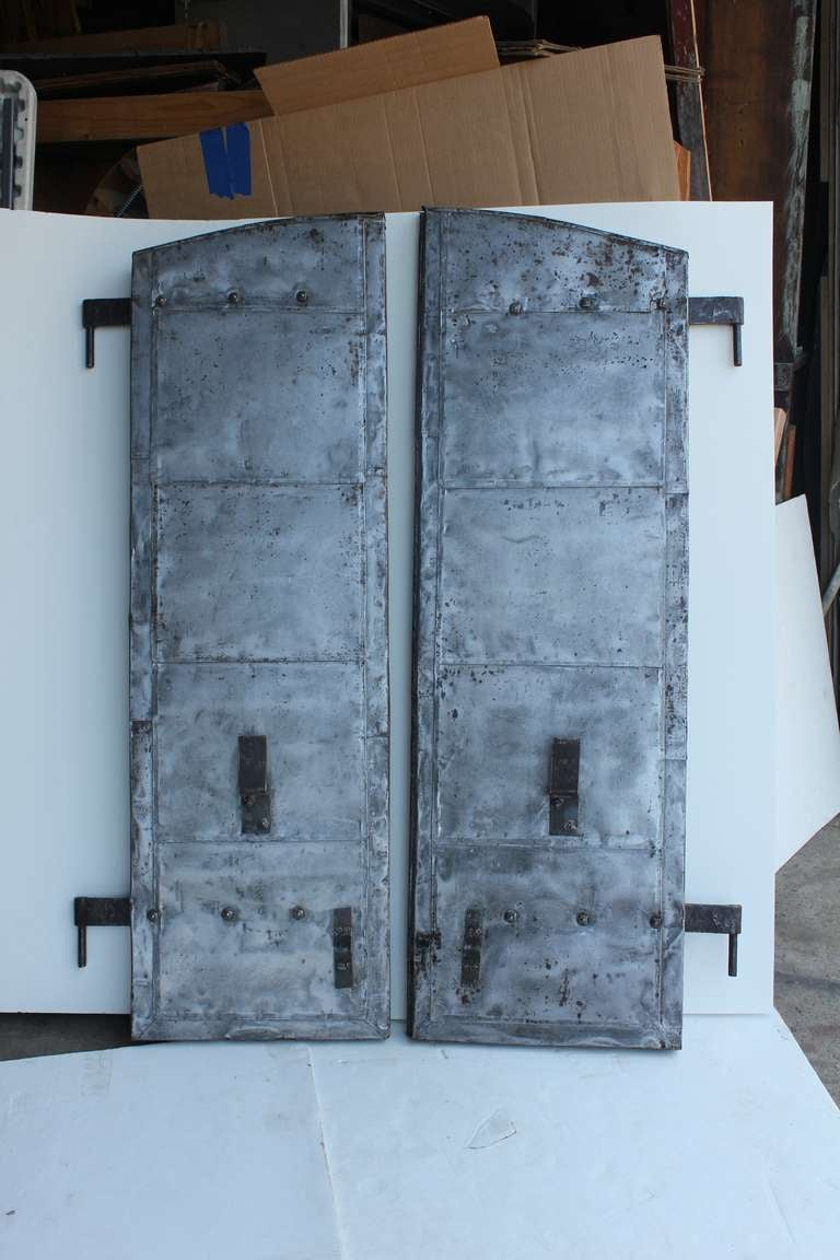 Vintage Industrial Doors : Antique industrial metal shutters pair at stdibs