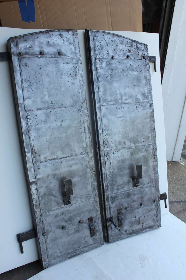 Vintage Industrial Metal Doors : Antique industrial metal shutters pair at stdibs