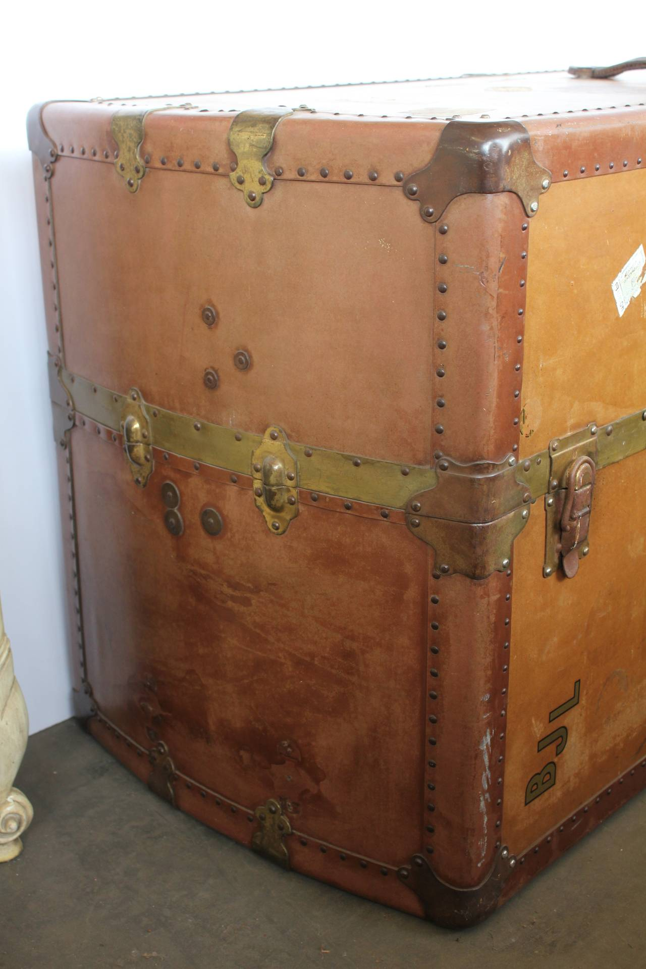 Leather Travel Trunk Coffee Table For Sale at 1stdibs