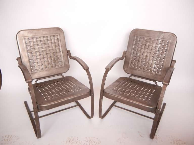 1950's Stamp Sheet Metal Garden Arm Chairs at 1stdibs