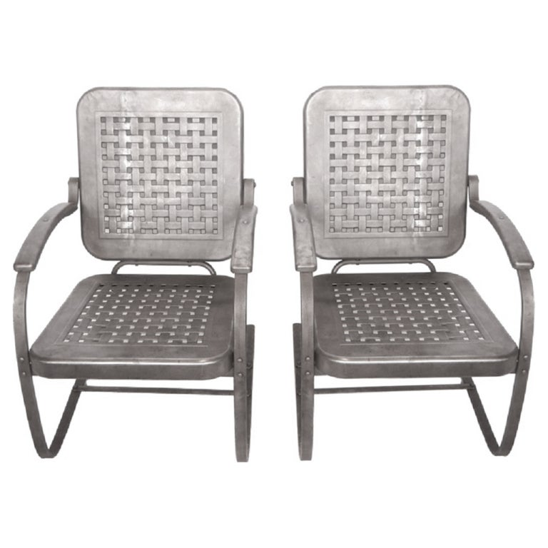1950 39 S Stamp Sheet Metal Garden Arm Chairs At 1stdibs