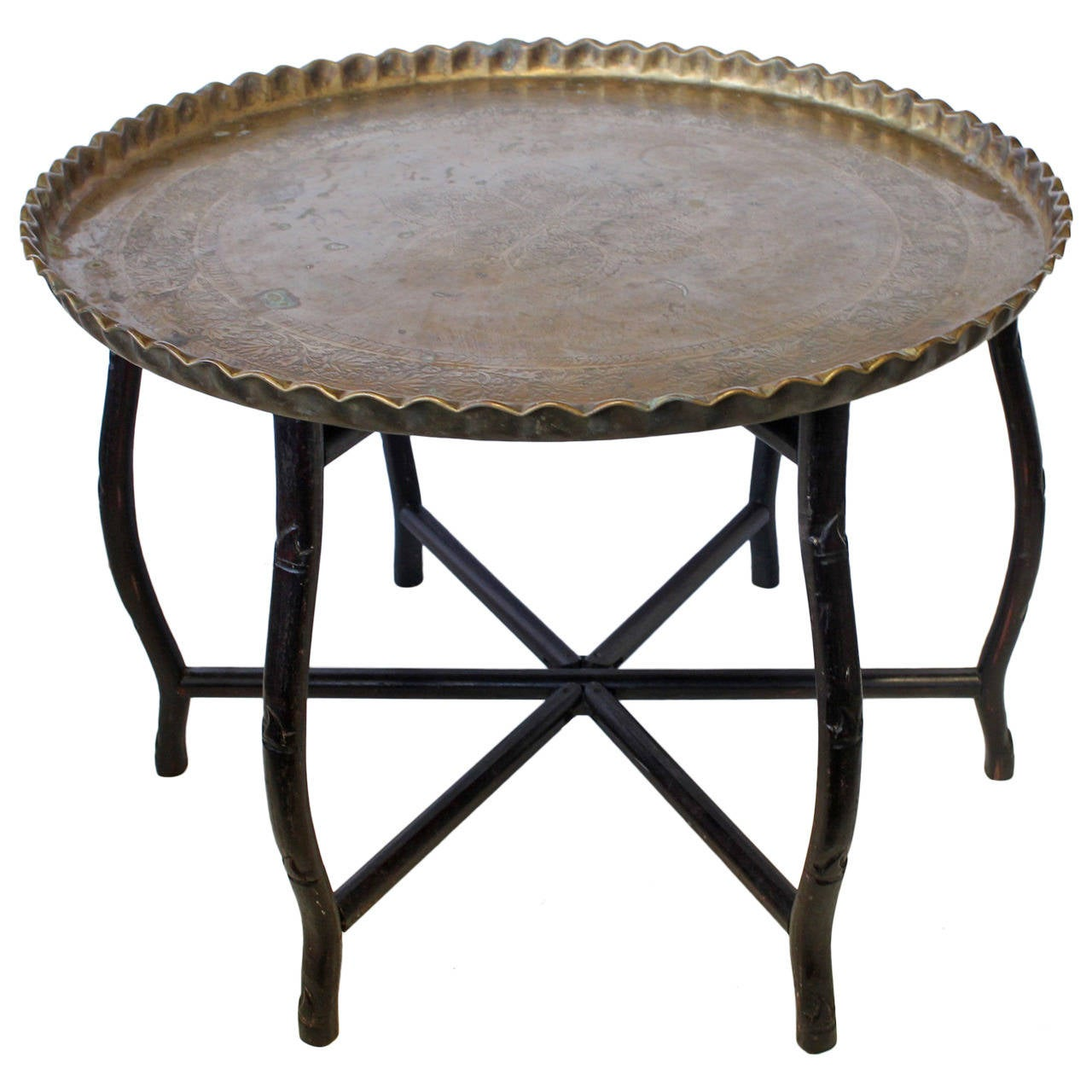 1920s Large Brass Tray Folding Table