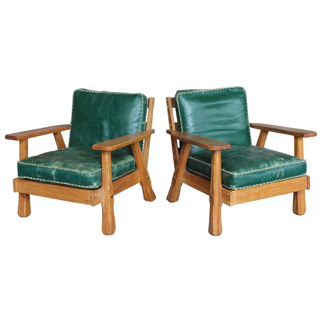 1950 S Wood Furniture ~ S leather and wood lounge chairs by ranch oak at stdibs