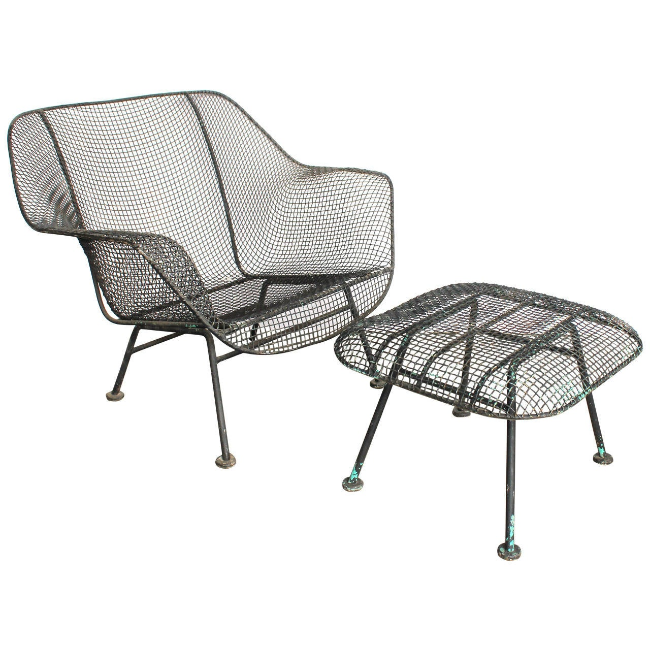 Mid Century Sculptura Garden Lounge Chair And Ottoman By
