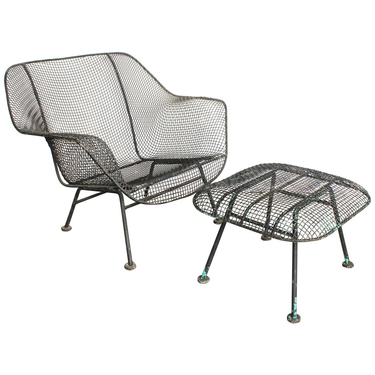 Mid century sculptura garden lounge chair and ottoman by woodard for sale at 1stdibs