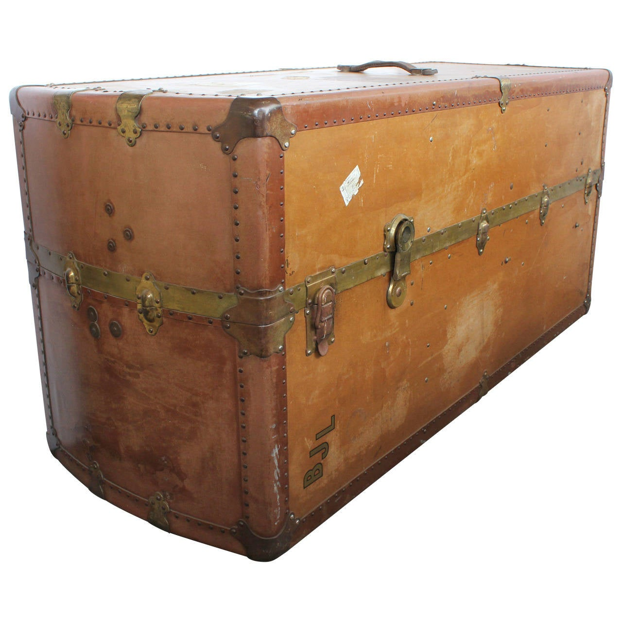 Large Leather Travel Trunk Coffee Table For Sale At 1stdibs