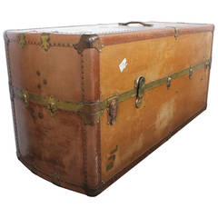 Large Leather Travel Trunk/Coffee Table