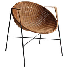 Mid-Century Wicker and Iron Armchair