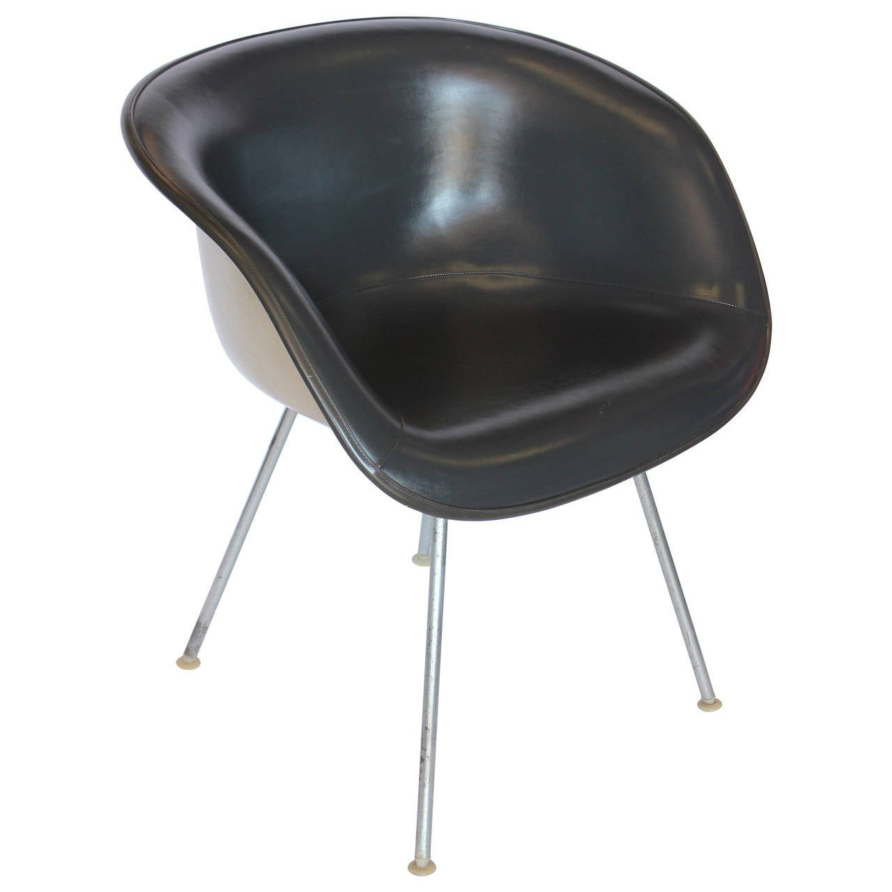 Eames Grey Naugahyde Chair By Herman Miller For Sale At