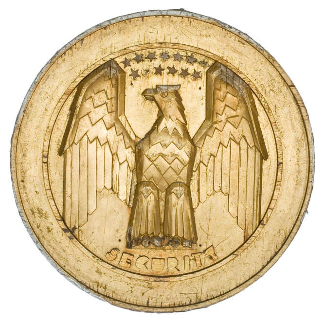1900 39 S American Hand Carved Wooden Eagle Wall Plaque At