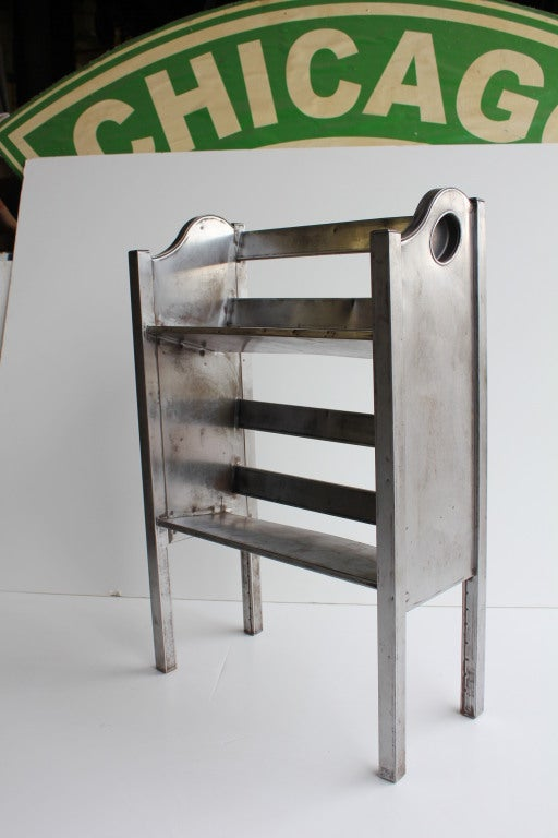 1940's refinished industrial metal 2 tier magazine/book holder by Simmons.