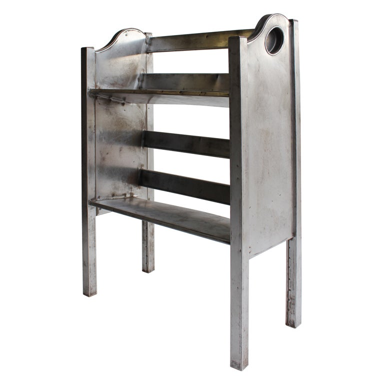 Industrial Metal 2 Tier Magazine/Book Holder by Simmons For Sale