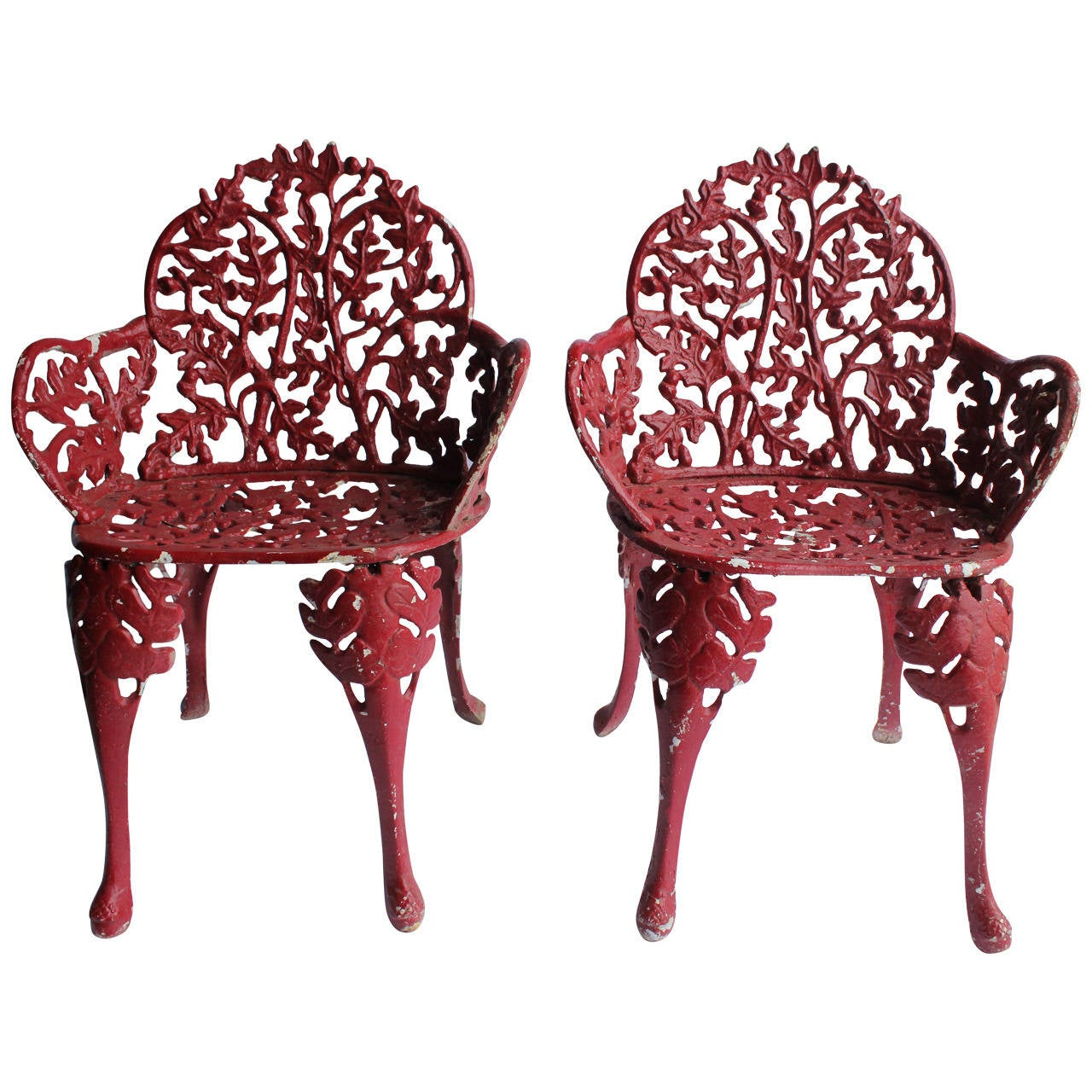 Stylish antique cast iron garden chairs at 1stdibs for Cast iron garden furniture