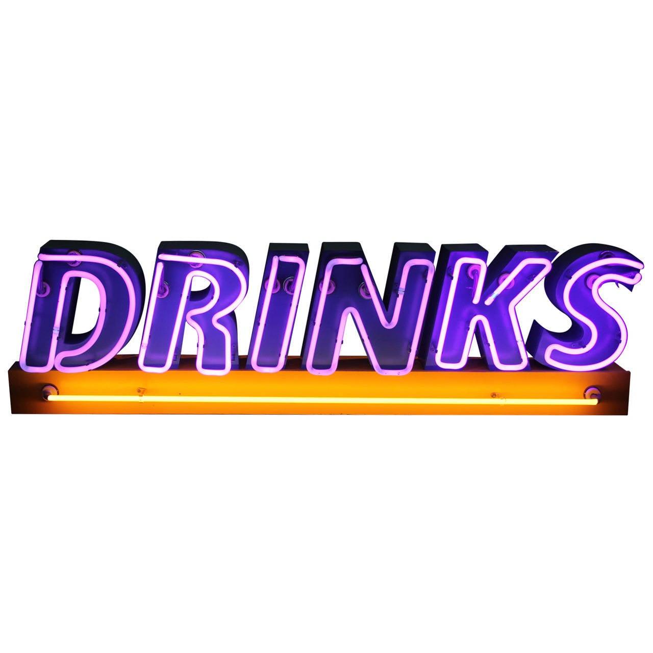 1980s Neon Drinks Sign