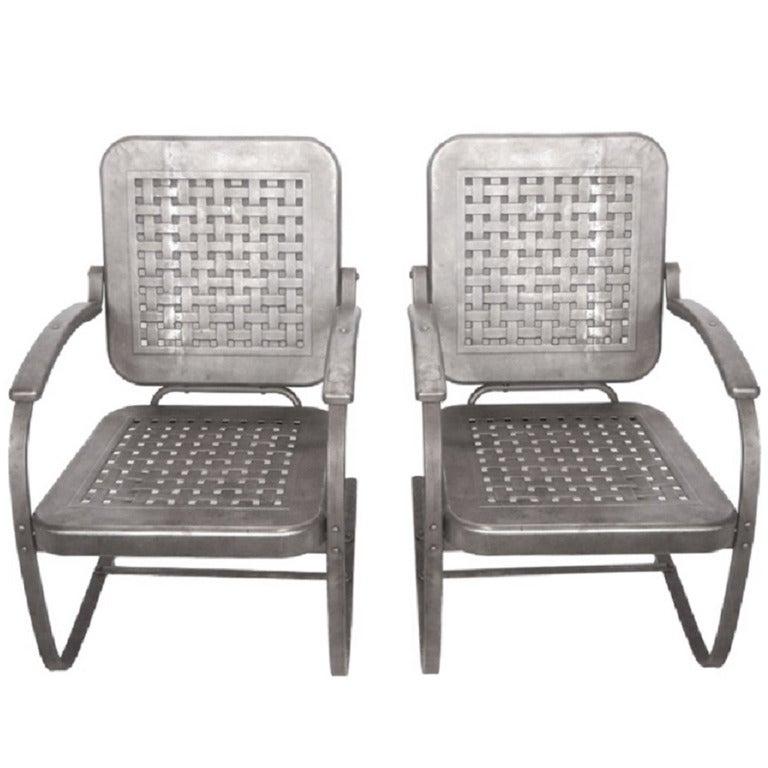 Mid Century Stamp Sheet Metal Garden Lounge Chairs At 1stdibs