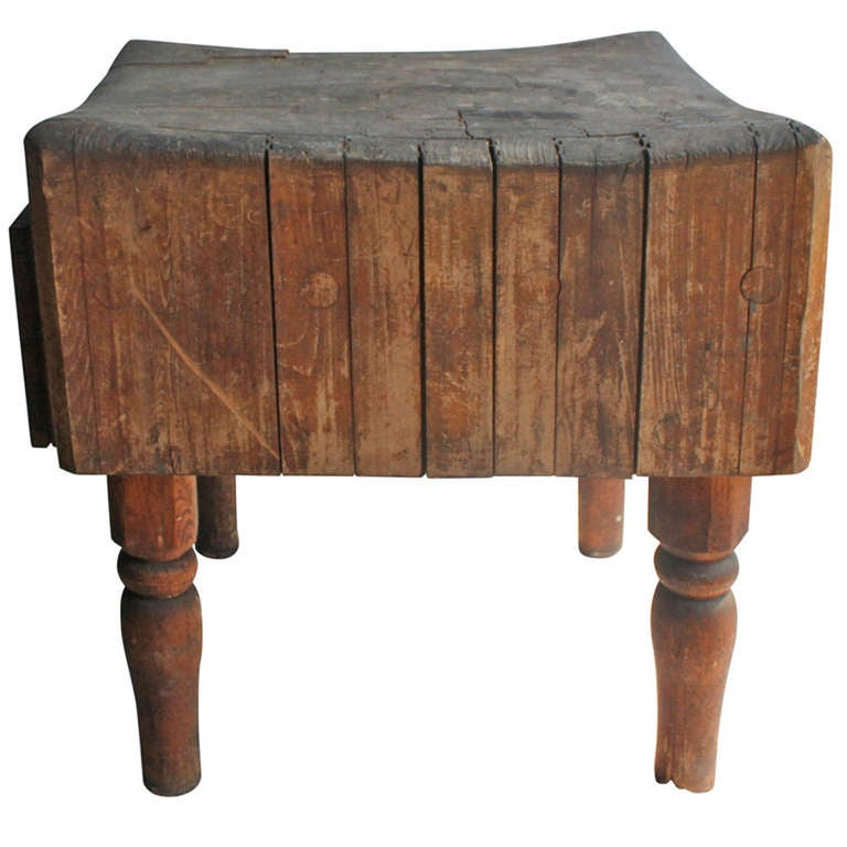 Antique Butcher Block Table At 1stdibs
