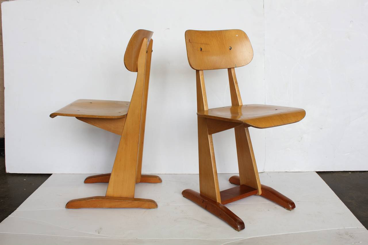 1950s bauhaus german sled school chairs by karl nothelfer