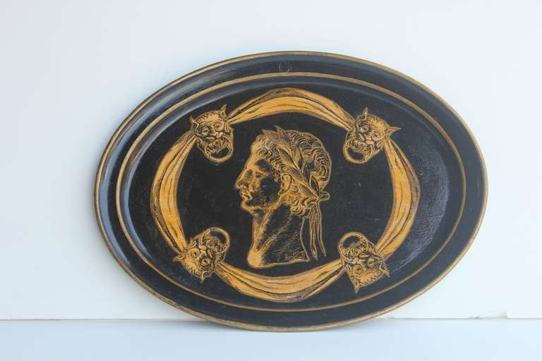 1930's Italian decorative lacquered hand painted tray.